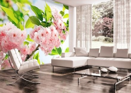 Pink flowers wall mural wallpaper